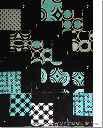 Falling Charms: L & 7 Quilt Layout Example